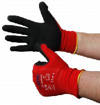 Montage-Feinstrickhandschuhe, Größe 10/XL, rot, 13G-Trägermaterial, Latex-Soft
