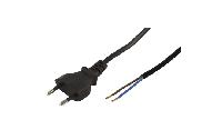 Euro-Netzkabel McPower mit blanken Enden Länge 1,5 m, 2x0,75 mm², schwarz