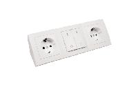 Steckdosenblock McPower ''Flair'' Aufbau, weiß, 2-fach Schutzkontakt + Schalter
