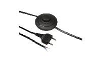 Euro-Netzkabel McPower mit Fußschalter und blanken Enden, 2m, schwarz