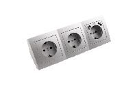 Steckdosenblock McPower ''Flair'' silber, 3-fach Steckdose + USB