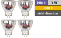 LED-Strahler McShine ''MCOB'' MR11 / G4, 3W, 250lm, warmweiß, 4er-Pack