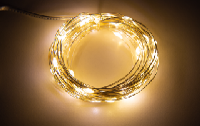 LED Draht-Lichterkette McShine ''Micro'' 80 LEDs, warmweiß, Batteriebetrieb